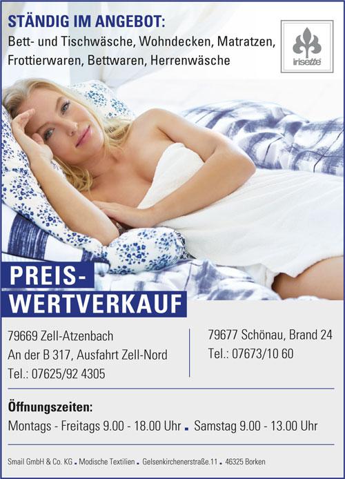 Iristette Haushaltstextilien Preiswertverkauf in Zell-Atzenbach und in Schönau