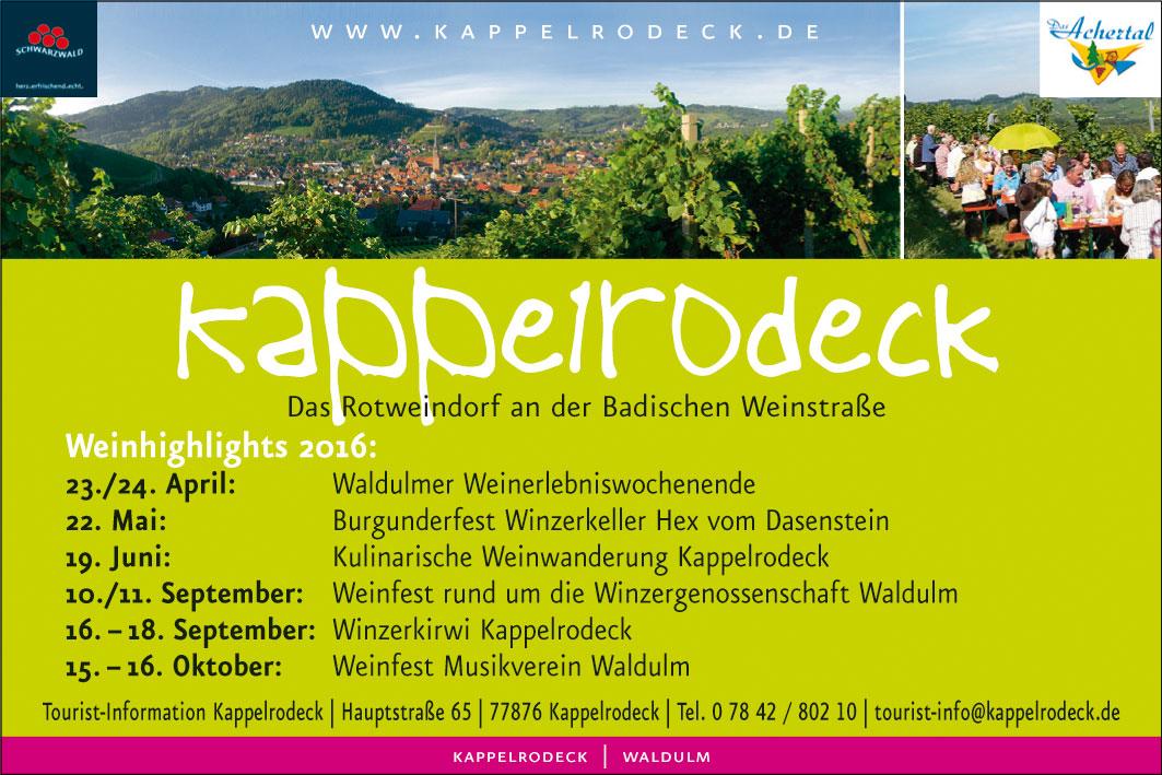 Anzeige Kappelrodeck Tourist-Info