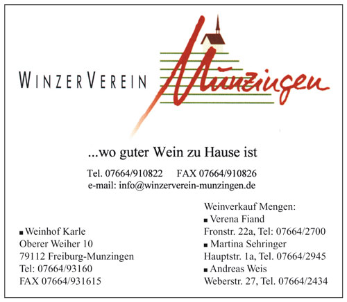 Anzeige Winzerverein Munzingen