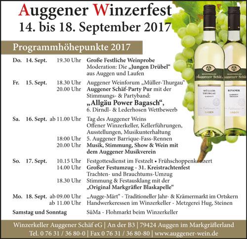 Anzeige Auggener Winzerfest 2017