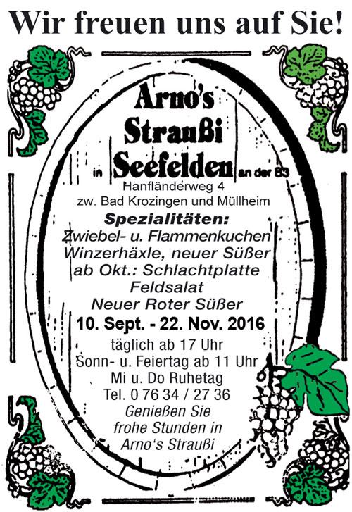 Anzeige Arnos Straußi Seefelden