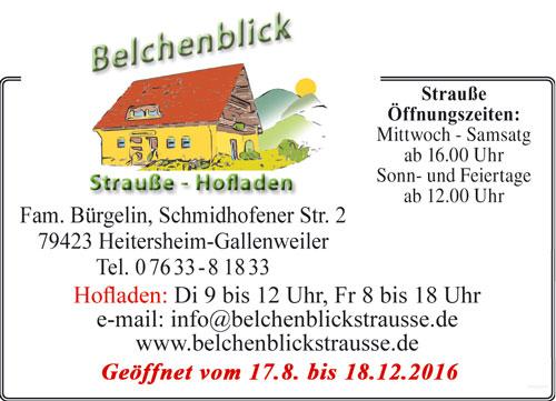 Anzeige Belchenblick Strauße Hofladen Heitersheim Gallenweiler