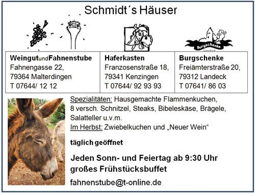 Anzeige Fahnenstube Kenzingen