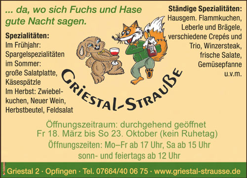 Anzeige Griestal Strauße Opfingen