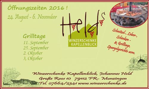 Anzeige Winzerschenke Kapellenblick Freiburg Munzingen