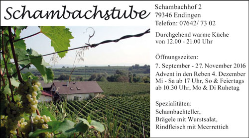 Anzeige Schambachstube Endingen