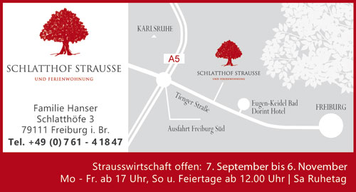 Anzeige Schlatthof Strausse Freiburg