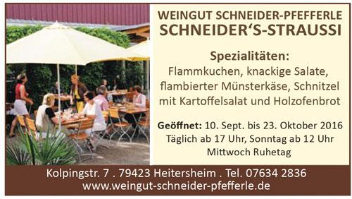 Anzeige Schneiders Straussi Heitersheim