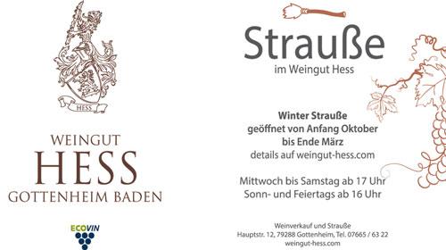 Anzeige Strauße Weingut Hess Gottenheim
