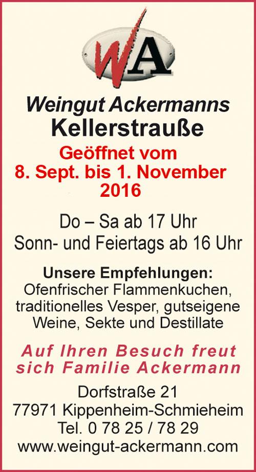 Weingut Ackermanns Kellerstrausse Kippenheim Schmieheim