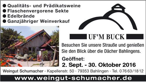 Anzeige Weingut Schumacher Ufm Buck Bahlingen