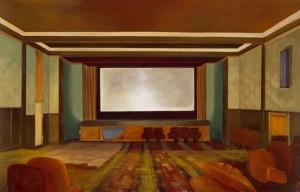 """Gemälde """"Lichtspiele"""" von Martin Kaspar. Es zeigt einen leeren Kinosaal, das Gemälde ist in warmen, rot-braunen Erdtönen gehalten"""