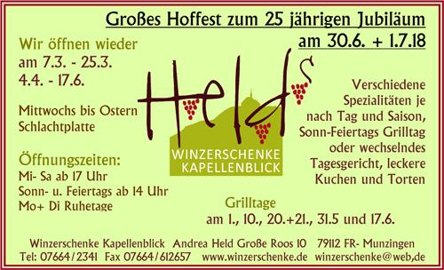 Helds Winzerschenke Kapellenblick Freiburg-Munzingen